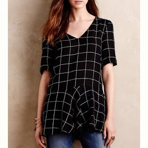 Anthropologie Frosted Pane Peplum Top